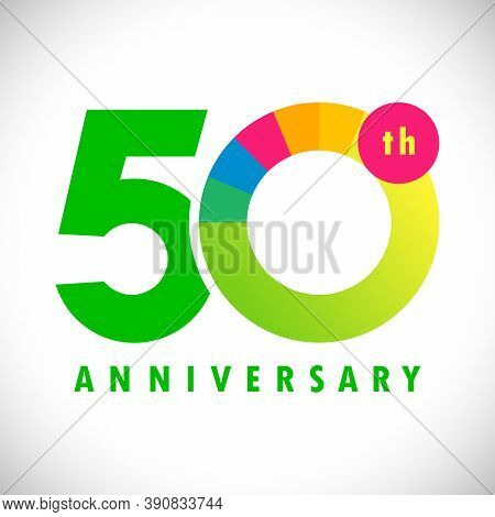 50 Th Anniversary Numbers. 50 Years Old Coloured Congrats. Cute Congratulation Concept. Isolated Abs
