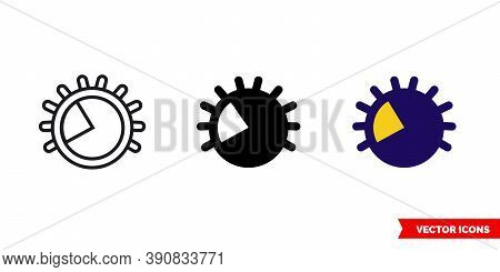 Light Dimming 40 Percent Icon Of 3 Types Color, Black And White, Outline. Isolated Vector Sign Symbo