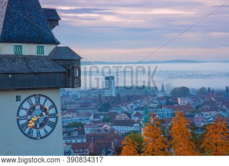 Cityscape Of Graz And The Famous Clock Tower On Schlossberg Hill, Graz, Styria Region, Austria, In A