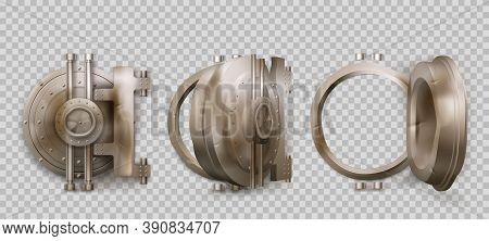 Old Round Safe Door, Metal Bank Vault Gate Isolated On Transparent Background. Vector Realistic Set