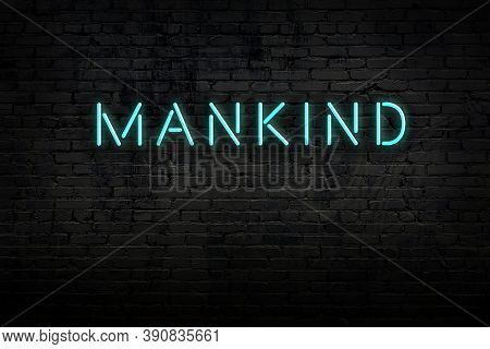 Neon Sign On Brick Wall At Night. Inscription Mankind
