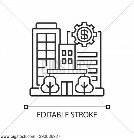 Banks And Financial Institutions Linear Icon. Business Operations. Banking Institutions. Thin Line C