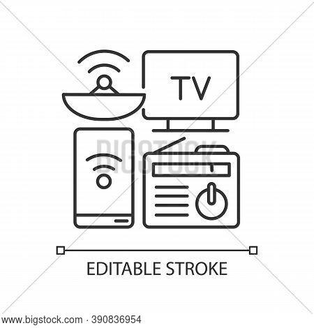 Mass Media Linear Icon. Electronic Devices. Modern Gadgets. Tv, Smartphone, Radio. Digital Media. Th
