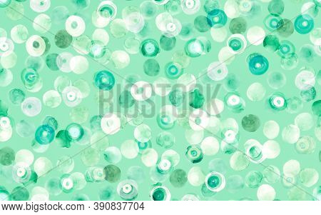 Abstract Seamless Circles. Green Watercolor Background. Hand Drawn Stains Pattern. Stylish Carpet Pr