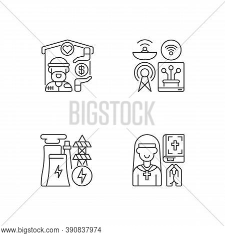 Fundamental Services Linear Icons Set. Homeless Shelter. Telecommunication. Electricity Industry. Cu
