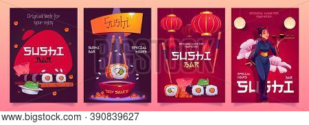 Sushi Bar Flyers With Japanese Food, Red Asian Lanterns And Waitress In Kimono. Vector Cartoon Set O