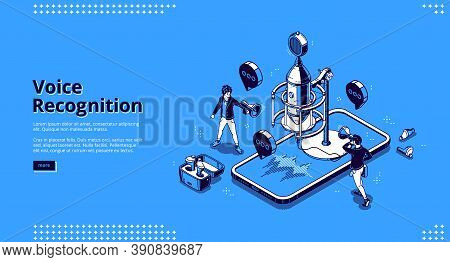 Voice Recognition Banner. Ai Technologies For Recording Sound, Dictate Messages And Speech. Vector L
