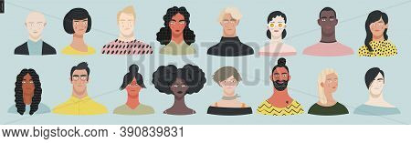Beautiful People Portrait -hand Drawn Flat Style Vector Design Concept Illustration Of A Young Peopl
