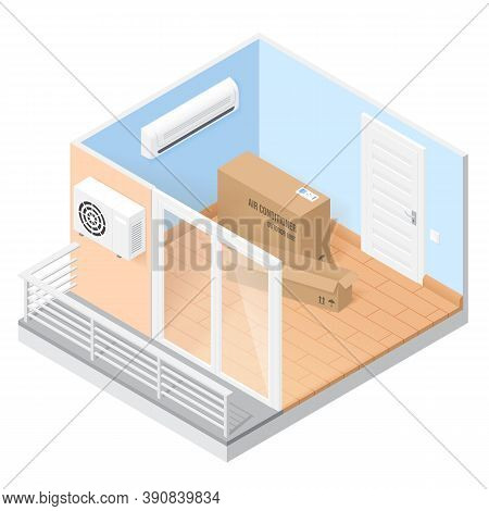 Air Conditioner In Empty Room With Balcony. Vector Isometric Illustration Of Home Or Office With Con