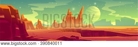 Alien Planet Landscape For Space Game Background. Vector Cartoon Fantasy Illustration Of Cosmos And