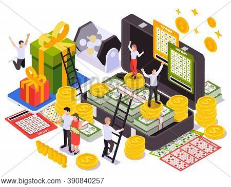Lottery Isometric Design Concept With Scratching Instant Cards Lottery Tickets Gift Boxes Rotating D