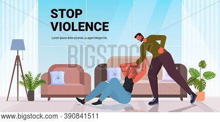 Angry Husband Punching And Hitting Wife Stop Domestic Violence Aggression Concept Horizontal Copy Sp