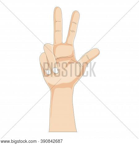 One Hands Showing Three Fingers On White Background, Vector Illustration Three Finger Gesture Sign,