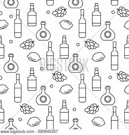 Seamless Pattern Vector Illustration Bottles Of Alcoholic Beverage, Grapes, Lemon, Wineglass. Liquor