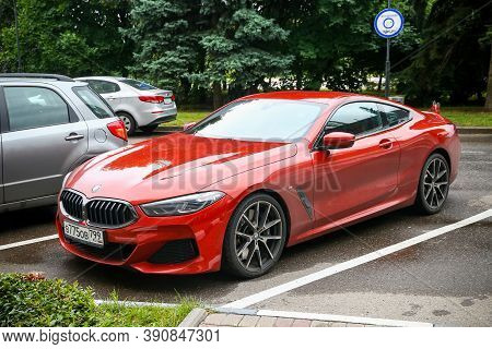 Moscow, Russia - August 13, 2020: Red Sportscar Bmw G15 8-series In The City Street.