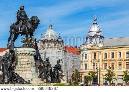 Cluj-napoca, Transylvania, Romania - September 20, 2020: The Monument Of Mathias Corvinus In Front O