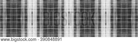 Buffalo Checks. Watercolor Tartan Border. Wool Geometric Squares For Twill Design. Seamless Black Bu