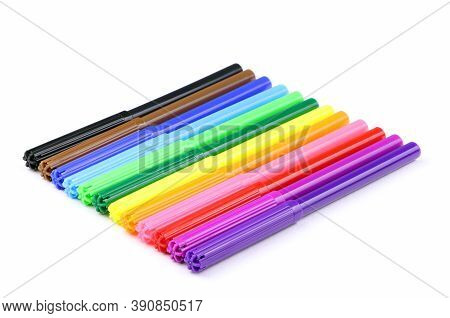 Multicolored Felt Pens Isolated On A White Background. Colorful Set Of Marking Pen Isolated. Home Ed