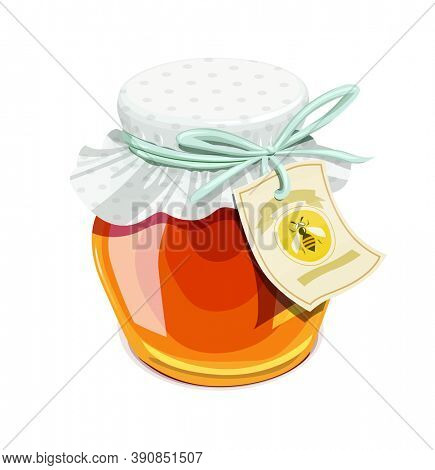 Honey jar. Vintage style. Delicious organic food. Glass capacity for bee meal with lid, isolated white background. 3D illustration.