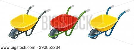 Wheelbarrow. Gardening tools. Barrow with one wheel for transportation cargo. Agriculture and building work inventories. Isolated white background. 3D illustration.