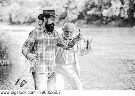 Just For You. Mature Man Fisher Celebrate Retirement. Retired Businessman. Male Friendship. Hobby An