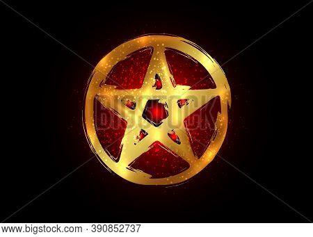 Gold Pentagram Occult Symbol. Wiccan Sigil Pentacle Esoteric Brush Stroke Grunge Style. Vector Isola