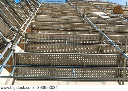 Modern Steel Scaffolding. Scaffold. Construction Scaffoldings. Construction Site