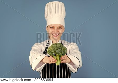 Green Fresh Vegetable Broccoli. Broccoli Vegetable Is Full Of Vitamin. Chef Woman Cook Broccoli. Hea