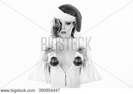 Christmas Miracle Concept. Breasts Augmentation As Gift For New Year. Plastic Surgery. Girl Santa Ha