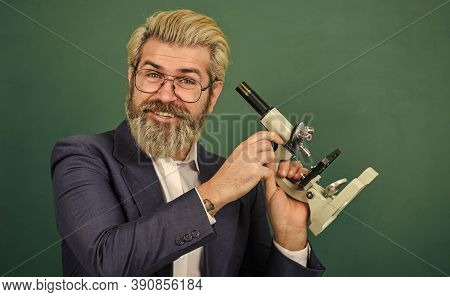 School Teacher Looking Microscope. Scientific Research. Fascinating Research. Teacher With Microscop