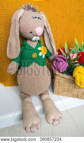 Hand Made Knitted Sad Hare. Rabbit Amigurumi. Knitted Toys.