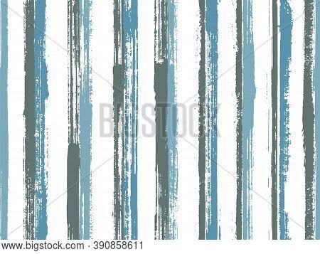 Watercolor Brush Stroke Straight Lines Vector Seamless Pattern. Plain Swimwear Marine Design. Grainy