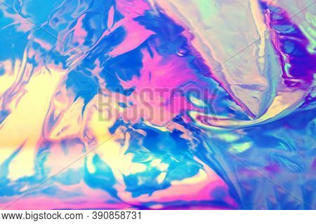 Abstract Holographic Background, Bright Iridescent Neon Colors, Blurred, Beautiful 90s Style Wall Pa