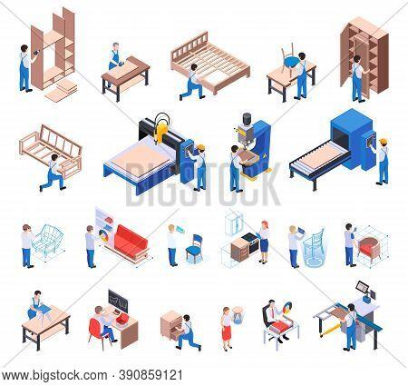 Furniture Production Isometric Set Of Craftsmen Pressing Sawing Drilling Polishing And Varnish Coati