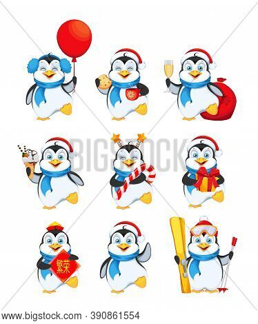 Cute Penguin, Set Of Nine Poses. Merry Christmas And Happy New Year. Funny Penguin Cartoon Character