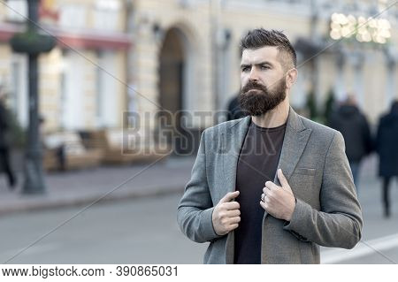 Man Bearded Hipster Stylish Fashionable Coat. Bearded And Cool. Barber Tips Maintain Beard. Hipster