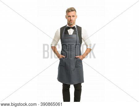 Hospitality Staff. Barista Handsome Worker. Man Cook Wear Apron. Mature Barista. Restaurant Staff. H