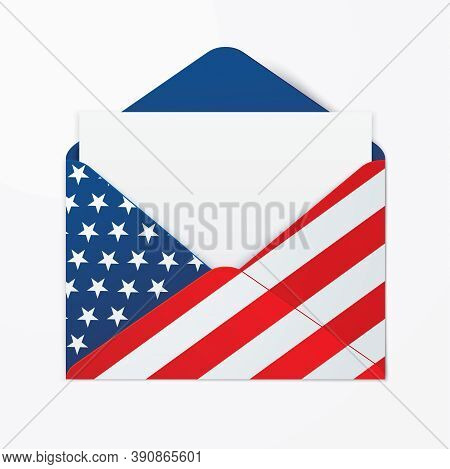 Usa Flag Printed Opened Envelope With A Blank Paper Lying Down On A Surface. The United States Legal