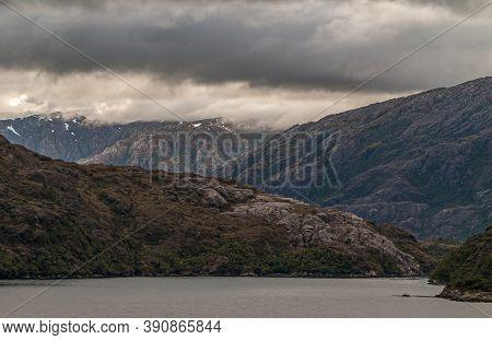 Sarmiento Channel, Chile - December 11, 2008: Amalia Glacier And Fjord. Cloudscape Over Side Arm Ent