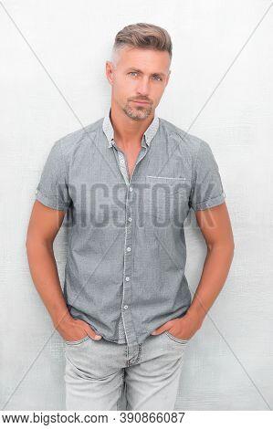 Fashion Concept. Man Model Clothes Shop. Mature Man Model. Menswear And Fashionable Clothing. Feelin
