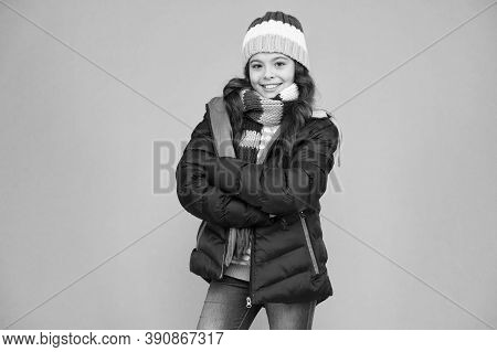 Perfect For Cold Weather Play. Little Child In Fashion Style. Little Model With Fashion Look. Little