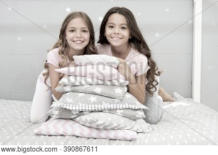 Best Friends Forever. Girls Children On Bed With Cute Pillows. Pajamas Party Concept. Girls Just Wan
