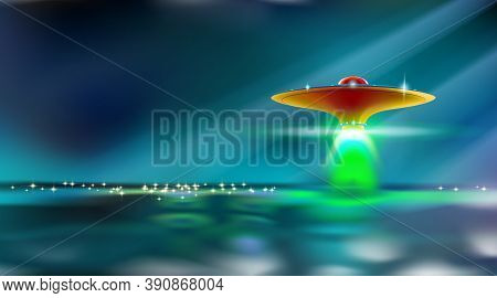 Aliens Futuristic Orange Spaceship Hovers Over Surface Water. Ufo With Lights Went To Take Off. Inva