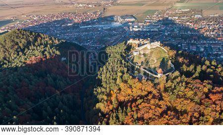 Aerial View Of Rasnov Fortress. Brasov, Transylvania, Romania