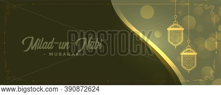 Lovely Milad Un Nabi Shiny Lamps Banner Design