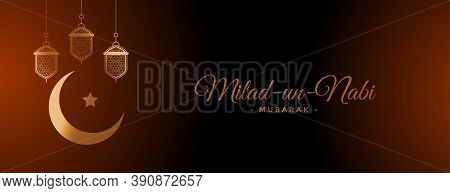Milad Un Nabi Islamic Lamps And Moon Decoration Banner