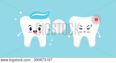 Healthy Tooth Gives A White Pill Pain Reliever For A Tooth With Pain. Flat Design Cartoon Character