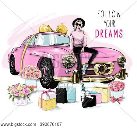 Beautiful Young Woman In Hat Sitting On Pink Car. Fashion Woman With Flower Boxes, Shopping Bags And