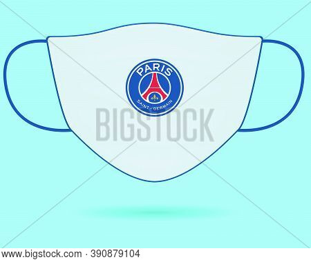 Surgical Face Mask With Psg Football Club Logo In Covid-19, Wear Mask & Stay Safe, New Normal- Coron