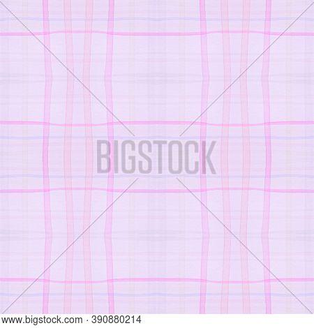 Pink Pajama Pattern. Retro Seamless Check Textile. Watercolour Squares For Kilt Design. Pastel White